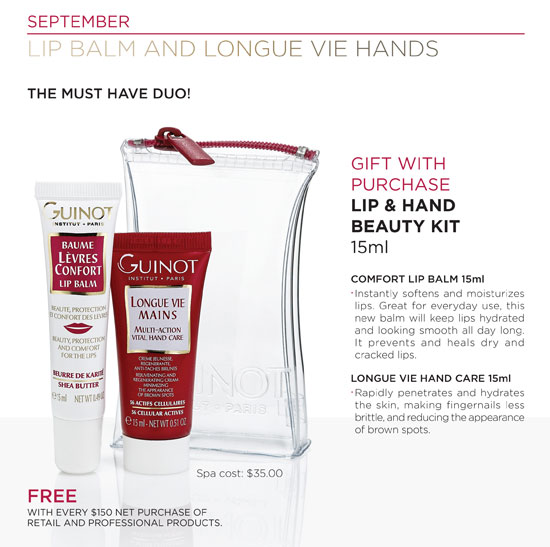 september 2015 spa gift with purchase guinot, spa deals in vancouver bc